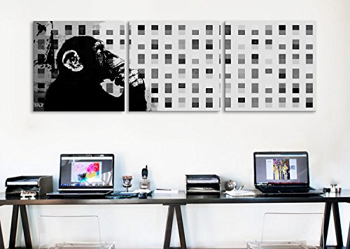 iCanvasART 2012C The Thinker Monkey Grayscale Dots Panoramic 3-Piece Canvas Print by Banksy, 48 by 16-Inch, 0.75-Inch Deep