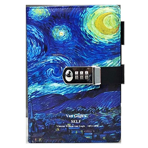 Price comparison product image Journal PU Leather Notepad Journals Diary with Lock Thickened Hand Book Password Lock Notebook Notebook (Color : E)