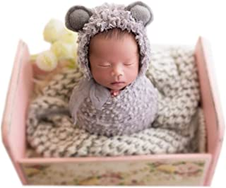 Vemonllas Newborn Baby Photography Props Outfits Hat Long Ripple Wrap Set for Boys Girls Photography