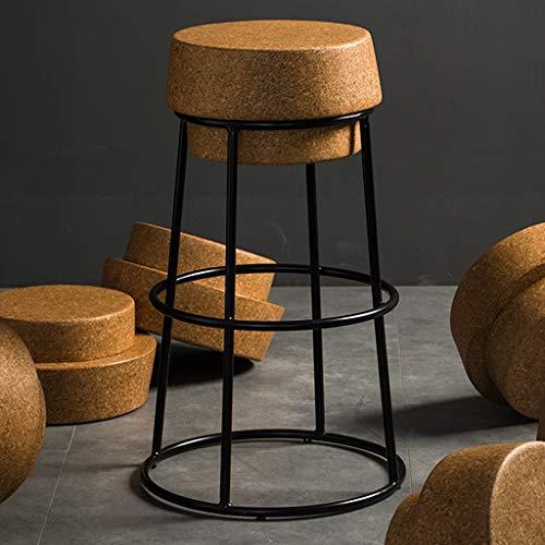 Sgabello da Bar Rotondo in Sughero Base in Ferro Nero Poggiapiedi Alto Cafe Designer Sedia Creativa per Cucina da bistrot da Pub (45 cm, 65 cm, 75 cm)