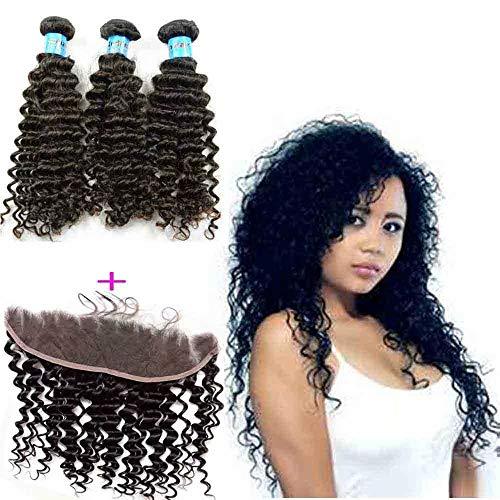 Queengirl Bundles de cheveux Indien bouclés avec Frontale 13x4 trame de cheveux tissés en trame vierge Fermeture à lacets 22 22 22inch+frontal 16\