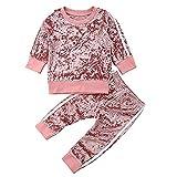 Carolilly 2 Pcs Ensemble de Sport Pantalon et Haut Manches Longues Vêtement Enfant Bébé Garçon/Fille en Velours (6M-5Ans), Rose, 120(4-5 Ans)