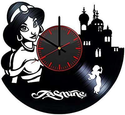 Taniastore Princess Jasmine Aladdin Design Vinyl Record Wall Clock Unique gifts for him her Gift Ideas