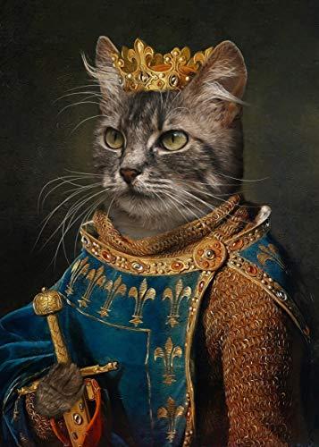 KWzEQ Vintage Perro Gato Cabeza Animal Pintura al óleo sobre Lienzo Arte de la Pared Cartel Sala de Estar Cuadro de Pared decoración del hogar,80X120cm,Pintura sin Marco