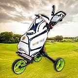 HYDL Chariot de Golf Manuel 3 Roues Poussoir Manuel/Tirez Le Chariot de Golf Facile à Transporter Chariot de Golf léger Pliable Roue Avant rotative à 160 ° pour Les Sports de Plein air en intérieur