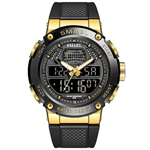 JTTM Hombre Relojes, Al Aire Libre Deportes Multifuncional Analógico Y Digital Deporte Relojes LED Relojes De Pulsera Men Watches,Dorado