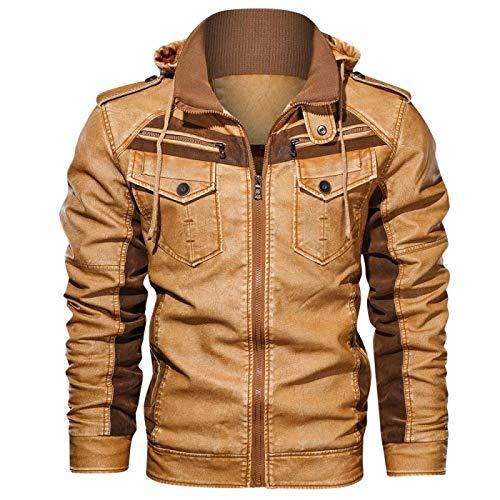 Ropa De Moda Masculina Chaquetas De Cuero para Hombres Invierno Fleece Grueso Hombre con Capucha Motocicleta PU Abrigos XXL Amarillo
