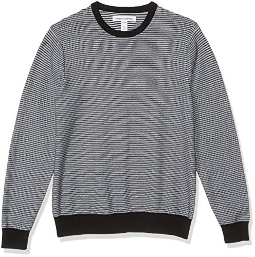 Amazon Essentials Men's Crewneck Sweater, -Black/White Stripe, X-Large