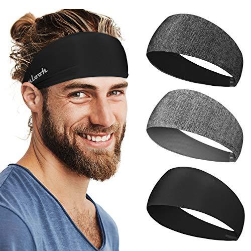 Linlook Sport Stirnband für Herren und Damen - 3 Pack Anti Rutsch Stirn Schweißband Kopf für Laufen Jogging Wandern Fahrrad Cycling Tennis Football
