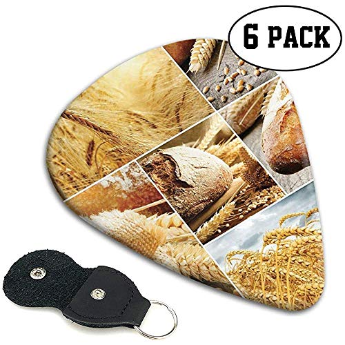 Gitaar kiest 6 stuks, verschillende stadia van brood maken van tarwe tot eindproduct collage patroon.96mm