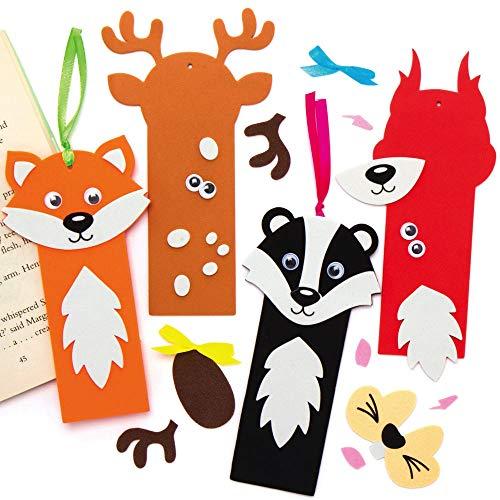 Baker Ross AX207 Kit Segnalibri Di Animali Del Bosco - Confezione Da 8, Crea Il Tuo Segnalibro Personale, Progetti Di Arti E Mestieri Creativi, Impara A Leggere