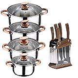 San Ignacio Bateria de cocina 8 piezas apta para induccion Altea en acero inoxidable con set de 6 cuchillos de acero inoxidable con tacoma, PK3239