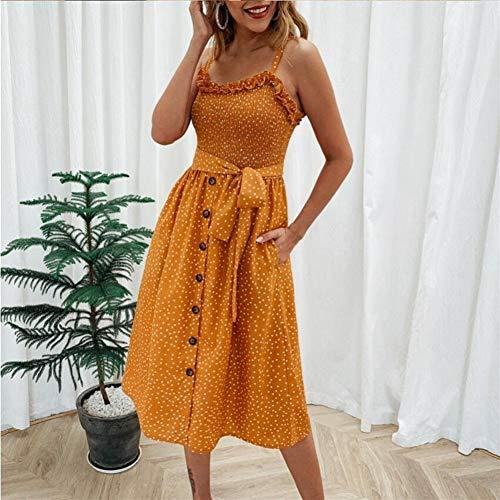 Vestido de cóctel de señoras Afrodisíaco Vestido de verano Mujer Button Botón sin mangas Spaghetti Correa Liberal Plisado Polka Dot Casual Long Beach Backless Vestidos ( Color : Yellow , Size : XL )