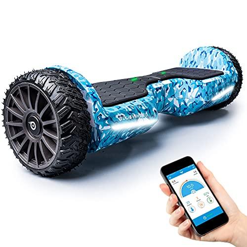 BLUEWHEEL 6,5' Premium Offroad-Hoverboard   App-kompatibel + Bluetooth Lautsprecher & LED Leuchte Self Balance Board + Safety Mode für Kinder   Premium-Akku & Dual Motor   HX380