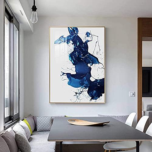 LangGe Graffiti Abstracto 40x60 cm Cartel de Pintura de Tinta Azul Abstracta sin Marco e impresión Creativa Moderna decoración del hogar Arte Sala de Estar decoración del Dormitorio