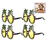 iwobi 4 Paare Sonnenbrille Hawaii Ananas Neuheit Brillen Set Party Dekorative Gläser, Hawaii Hula Kostüm Zubehör