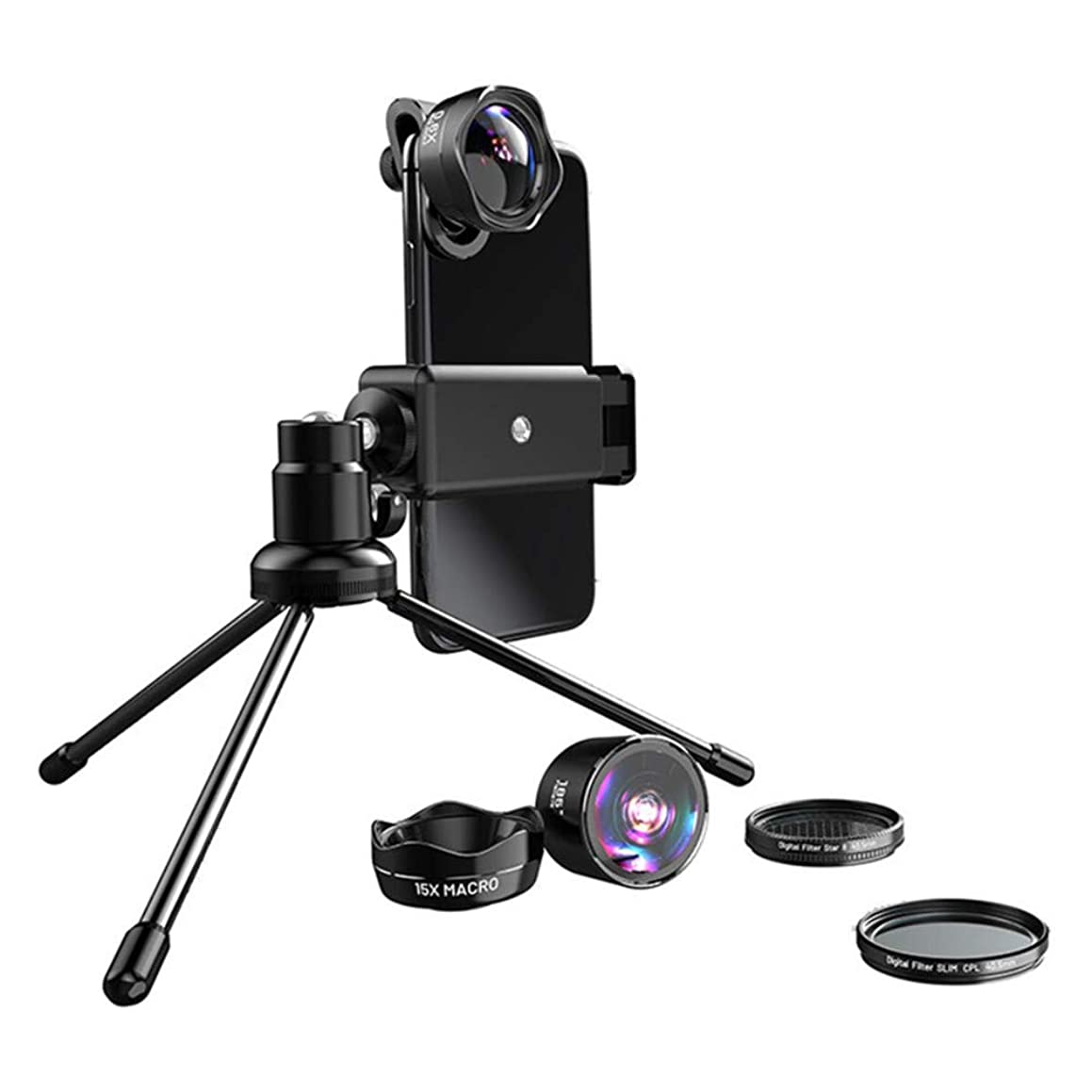 RYZRYZ 5-in-1 Camera Set, Mobile Phone Camera Lens, Wide-Angle Macro Polarizer Star Mirror externally Suitable for Any Type of Mobile Phone