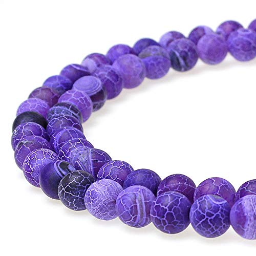 JARTC Natural Purple Cracked Dream Fire Dragon Veins Agate Beads Round Stone Beads for Jewelry Making DIY Bracelets Necklaces (6mm)