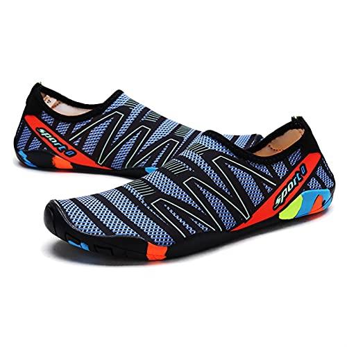 Zapatos de natación para parejas, zapatos de playa, zapatos de yoga, zapatos de ciclismo, zapatos para exteriores, agua y tierra (color: negro, azul, talla de zapato: 10)