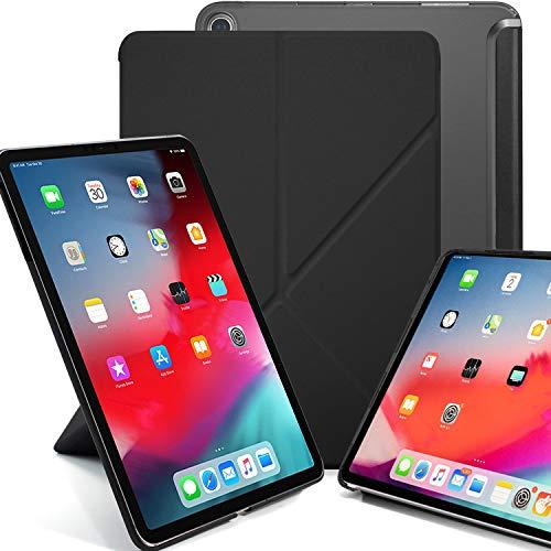 KHOMO iPad Pro 12.9 2018 Smart Cover Schutzhülle mit Halbdurchsichtiger Silikonrückseite und Origami Aufstellungsmöglichkeiten - Schwarz