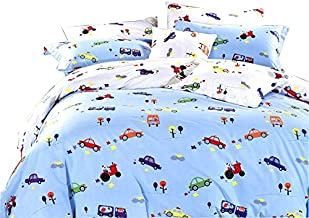 YOUSA 3Pcs Cars Print Bedding Set Kids Duvet Cover Set Cotton Bed Cover with Pillow Shams Queen