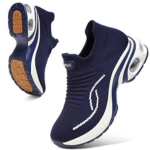 Sixspace Damen Sneaker Turnschuhe Atmungsaktiv Laufschuhe Leichtgewichts Walkingschuhe Sportschuhe Freizeitschuhe Straßenlaufschuhe Trainer für Outdoor Fitness Gym(Dunkelblau,39.5 EU)