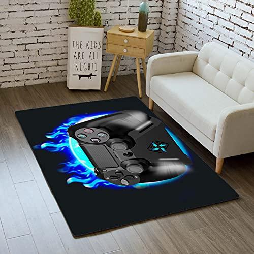 Stillshine. Alfombra de Dormitorio Consola de Juego Luces de Neón Niño Chico Niña Adolescentes Gamer Controlador Moderno Lavable Franela Antideslizante Alfombra (Color 3,80×160 cm)