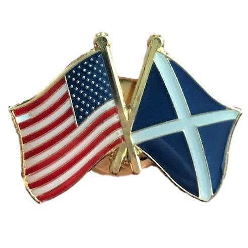 Backwoods Barnaby USA-Scotland Friendship Pin/American Scotland Crossed Flags