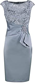 kxry Women's Short Lace Gray Mother of The Bride Dress Sheath Knee Length Formal Party Cocktail Gown