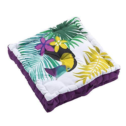 Cojín de Suelo, 45 x 45 x 10 cm, algodón Estampado Hawaiana