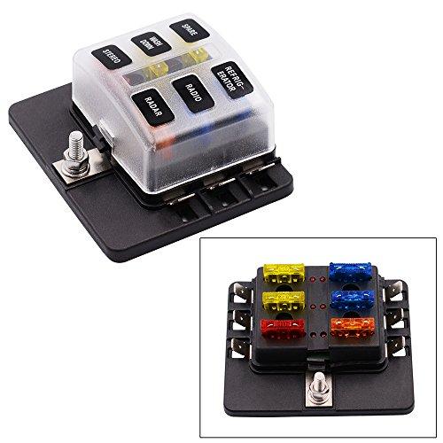 YGL Caja de Fusibles 6 Vías Portafusibles con Lámpara de Alerta LED Kit para Coche Barco Marino Triciclo 12V 24V