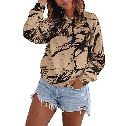 Suéteres para Mujer Casual Manga Larga Blusa Suelta Jersey con Estampado de teñido Anudado 3XL Khaki