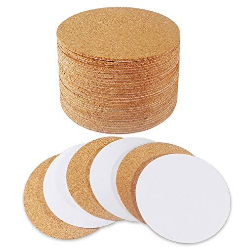 """30 Pack Self-Adhesive Cork Round 4"""" Cork Tiles Cok Bcking Sheets Cork Coasters Round for DIY Crafts"""