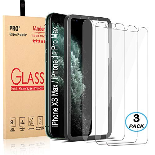 iAnder [3-Pack] for iPhone 11 Pro Max/iPhone Xs Max Screen Protector with [Frame Easy Installation Tray] [Tempered Glass] Screen Protector Compatible with iPhone Xs Max/iPhone 11 Pro Max(6.5 inches)
