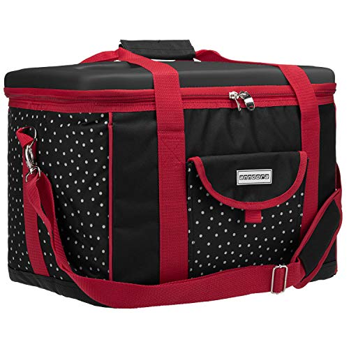 anndora Kühltasche XL schwarz weiß gepunktet 40 Liter - Isoliertasche Picknicktasche