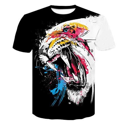 XIAOBAOZITXU T-shirt mode grootte mannen en vrouwen unisex kostuum kleur tijger wit zwart slim fit cool grappig zomersport t-shirt