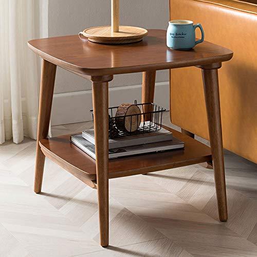 Modern Koffietafel, Wood vierkante Nachtkastje, met verstelbare Foot Pad en Storage Rack, 2-Tier Side Table, voor woonkamer en slaapkamer,Red