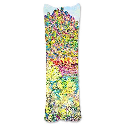BONNIU Funda Decorativa Cojin Cremallera 50X180 cm Protectores Almohada Terciopelo Paisaje Art - Monet - Paisaje Cerca De Montecarlo 1883