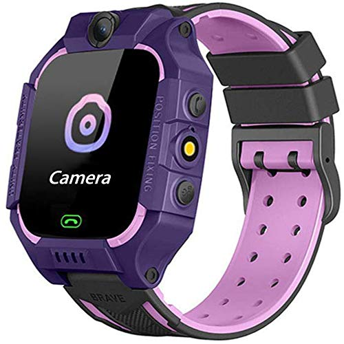 Reloj de cámara Digital a Prueba de Agua para niños, Reloj de Estudiante para niños, localizador de rastreo GPS, Reloj Despertador, Chat de Voz, Regalos de cumpleaños para niños y niñas (púrpura)
