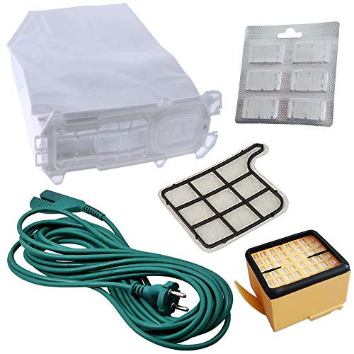 6 bolsas de aspiradora + filtro HEPA + filtro de protección del motor + 6 ambientadores + cable de alimentación adecuado para Vorwerk Kobold VK135, VK 135, VK136, VK 136