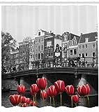 Canal Impresión HD, Cortina de Ducha Impermeable para baño, 12 Ganchos Gratis, 180x200cm de Amsterdam en Blanco y Negro