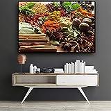 Granos Especias Cuchara Nuez Cocina Lienzo Pintura Escandinavo Carteles e impresiones Arte de la pared Comida Imagen Sala de estar 30x45CM