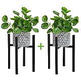 Soporte Ajustable para Plantas, 2 Piezas Soporte para Macetas Moderno Soporte para Exhibición de Flores de Metal para Maceta Diámetro de 23-37cm, para Interior y Exterior Balcon