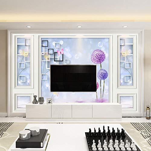 Televisieachterwand voor de televisie, eenvoudige moderne woonkamer, 3D naadloos fotobehang, 3D-effect, behang, woud vintage 300 x 210 cm.