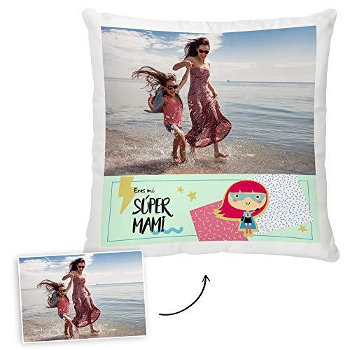 Fotoprix Cojín Personalizado Día de la Madre | Regalo Super Mamá | Varios diseños Disponibles. (Diseño: Supermamá, 45 x 45 cms)