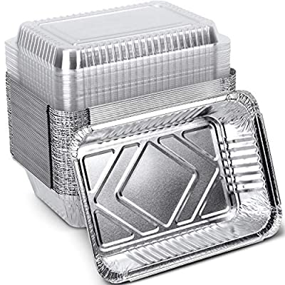 XIAFEI 50-Pack Aluminum Pans with Clear Lids?2 ...