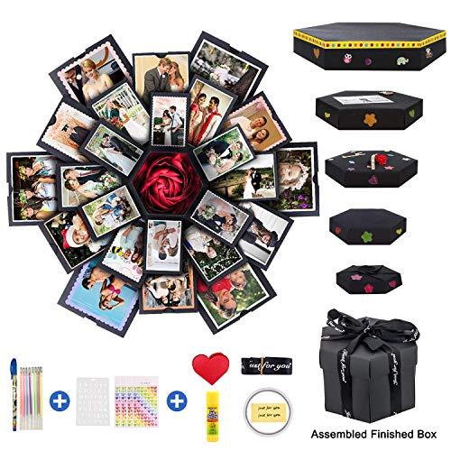 HAIY Kreative Explosionsbox 6 Gesichter Explosion Geschenkbox, Liebesgedächtnis DIY handgemachtes Fotoalbum-Einklebebuch, Geburtstagsgeschenk, Geschenke zum Jubiläum, Hochzeit oder Valentinstag