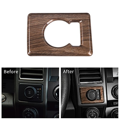 Voodonala Wood Grain Four Wheel Drive 4WD 4 x 4 Switch Button Covers Panel for Ford F150 2015 2016 2017