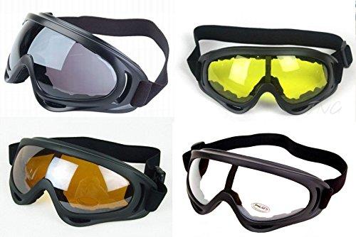 [4 antiparras] antireflectiva Marco Negro Multi Sport moto Snowboard Ski Airsoft paseos al aire libre Paintball UV400 gafas de protección gafas juego completo