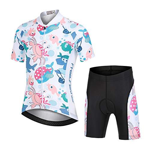 LSHEL Jungen Mädchen Fahrrad Set Quick Dry Kurzarm Trikot + Radhose Atmungsaktiver Radsport Anzüge, Pirat, 104/110(Herstellergröße: S)